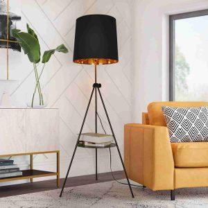 Black Tripod Floor Lamp with Shelf for Living Room