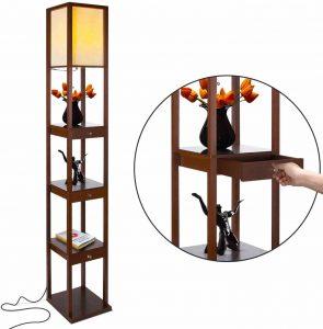 Brightech Maxwell Drawer Edition - Shelf & LED Floor Lamp Combination