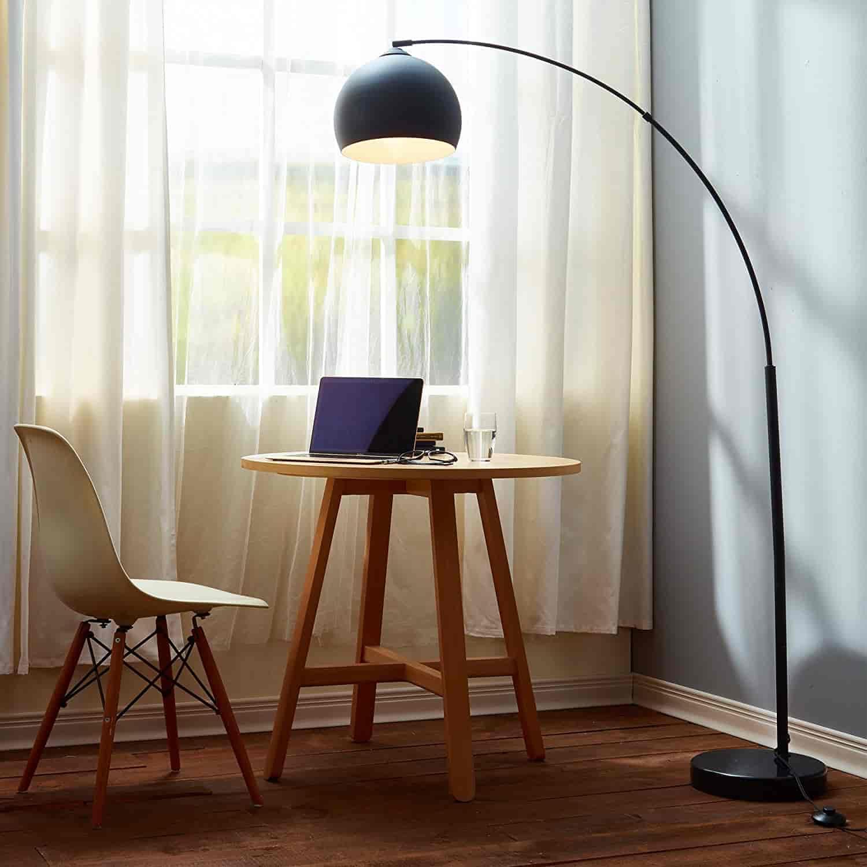 Modern LED Arc Black Floor Lamp