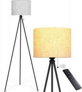 Tripod Black Floor Lamp, Remote Control Modern Tall Lamp