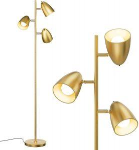 addlon Gold Tree Floor Lamp with 3 Adjustable Rotating Lights